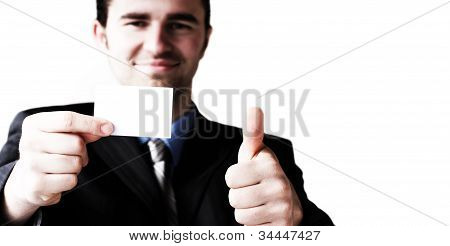 Business Card And Show That Everything Is Ok Gesture