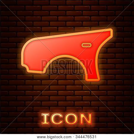 Glowing Neon Car Fender Icon Isolated On Brick Wall Background. Vector Illustration