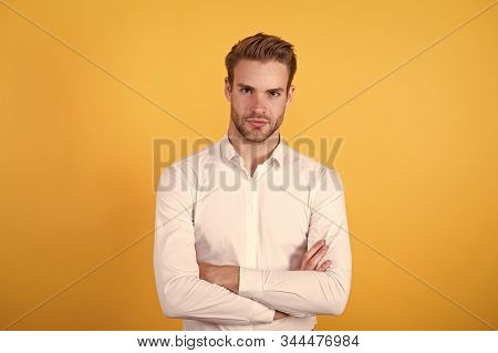 Clerical And Middle Chain Management. Menswear Formal Style. Guy Handsome Office Worker. Working For