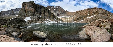 Panorama Of Chasm Lake And Longs Peak In Early Summer