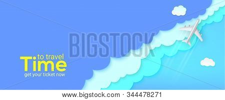 Silver Plane Flying Above Clouds. Blue Sky Carved From Multi Layered Paper. Banner With Realistic Ai
