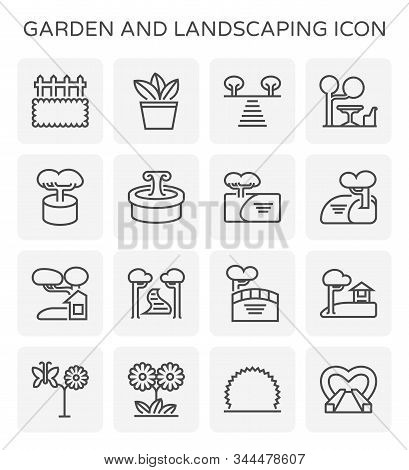 Garden And Landscaping Icon Set For Landscaping Graphic Design Element, Editable Stroke.