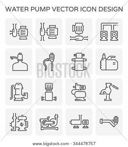 Water Pump And Agricultural Equipment For Agricultural Graphic Design Element, Editable Stroke.
