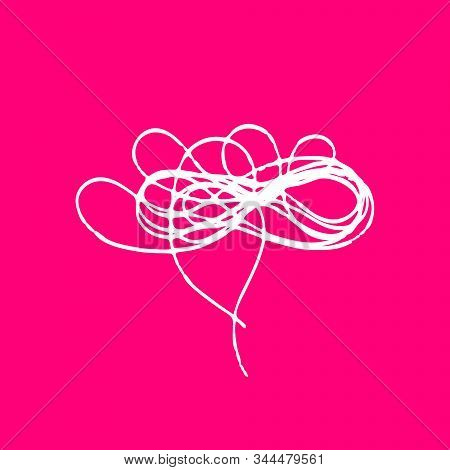 Scribble Tangled Threads. Love Bird Nest, Cloud For Valentines Day. Outline Abstract Sketch. Vector