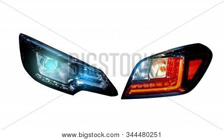 Car Tail Lights Separated From The Background Cliping Part