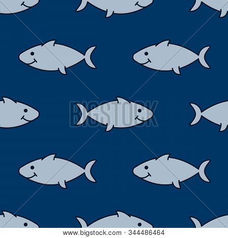 Predatory Fish, Doodle Style. Seamless Background With Hand-drawn Animals, Underwater Life . Vector