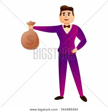 Money Bag Millionaire Icon. Cartoon Of Money Bag Millionaire Vector Icon For Web Design Isolated On