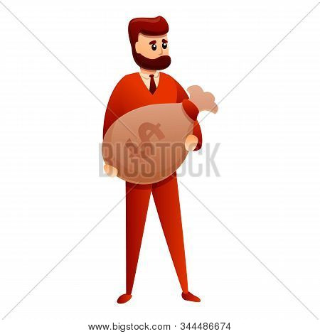 Bearded Millionaire Icon. Cartoon Of Bearded Millionaire Vector Icon For Web Design Isolated On Whit