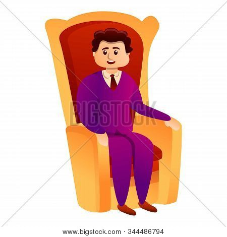 Millionaire In King Chair Icon. Cartoon Of Millionaire In King Chair Vector Icon For Web Design Isol