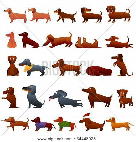 Dachshund Icons Set. Cartoon Set Of Dachshund Vector Icons For Web Design