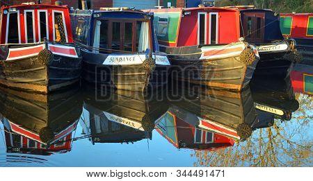 Wrenbury, Cheshire, England - November 30, 2013:   Narrow Boats Moored At Wrenbury On The Llangollen