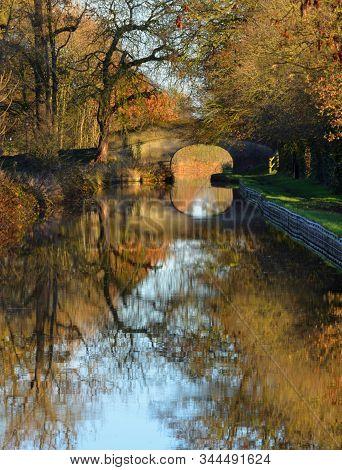 Autumn Leaves Shropshire Union Canal Llangollen Branch At Wrenbury Cheshire.