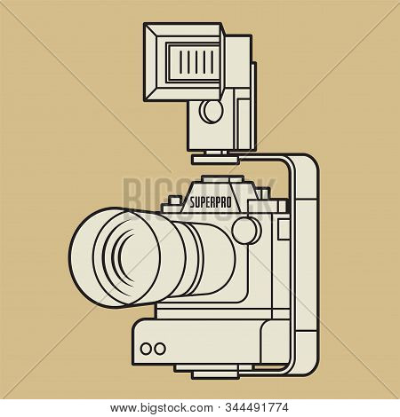 Professional Camera With Big Portrait Lens And Large Flash Strobe, Vector Illustration