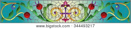 Illustration In Stained Glass Style With Abstract  Swirls,flowers And Leaves  On A Blue Background,h
