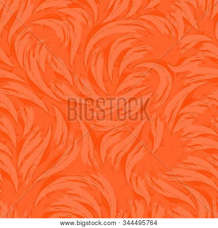 Bright Vector Abstract Texture In Trendy Lush Lava Colors 2020. Pattern From Strokes Of Orange Paint