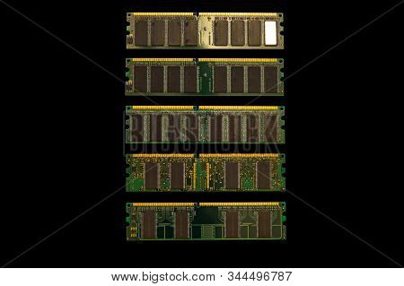 Ddr Sdram Memory Modules Isolated On Black. Ddr Chip Combined On A Module Chipset For Desktop Pcs. C