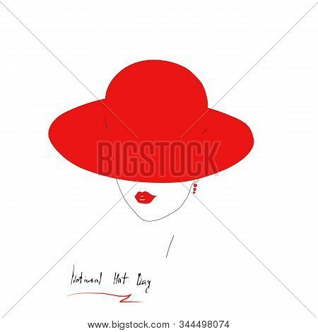 Fashion Illustration In Minimalism Style. Young Woman Face Contour With Red Gloss Lips. Girl In A Wi