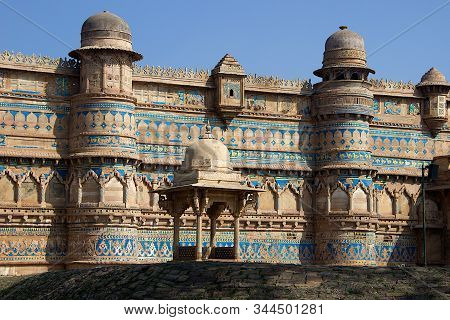 View Of Front Portion Of Gwalior Fort At Gwalior In Madhya Pradesh, India, Asia