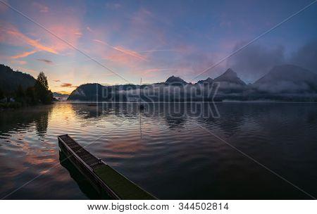 Peaceful Autumn Alps Mountain Lake. Sunrise Wolfgangsee Lake View, St. Wolfgang Im Salzkammergut, Up