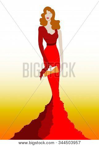 Fashion Model In Red Beauty Dress, Sexy Woman Posing Evening Gown. Shop Logo Silhouette Diva Beautif