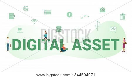 Digital Asset Concept With Big Word Or Text And Team People With Modern Flat Style - Vector Illustra