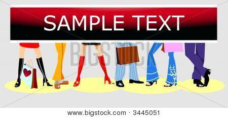 Shoe Shop Advertising. Fashion Background. Copy Space