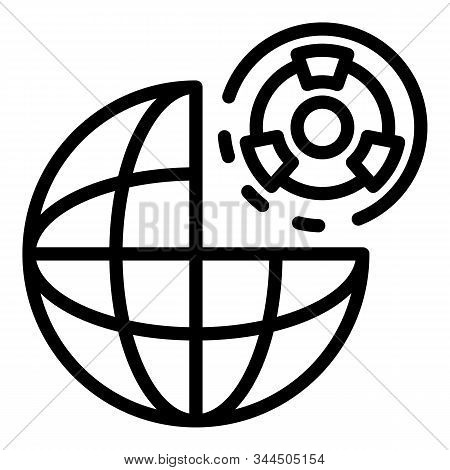 Global Atomic Risk Icon. Outline Global Atomic Risk Vector Icon For Web Design Isolated On White Bac