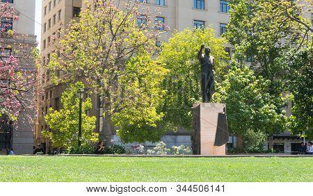 Santiago De Chile, Chile - January 26, 2018: Monument To Eduardo Frei In Santiago De Chile, In Front