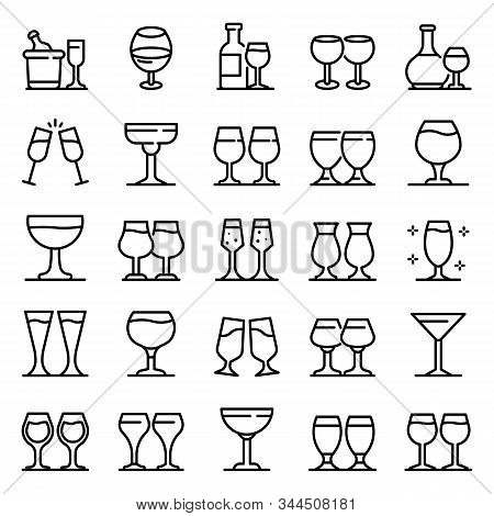 Wineglass Icons Set. Outline Set Of Wineglass Vector Icons For Web Design Isolated On White Backgrou