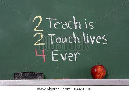 Teacher Inspirational Phrase On Chalkboard