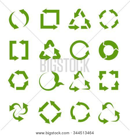 Recycling Icons. Various Green Circle Arrow Symbols. Waste Reuse Recycle, Garbage And Biodegradable
