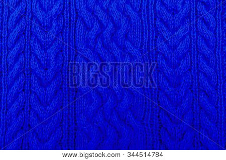 Knitted Pattern In Blue. Classic Blue. Color 2020.