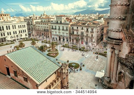 Palermo, Italy: Old City View From Roofs Of The 18th Century Catholic Palermo Cathedral On 9 October