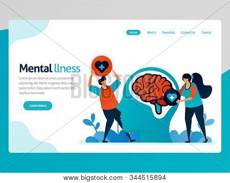 Illustration Of Mental Illness. People Love To Brain Problem. Health Therapy For Trouble People. Men