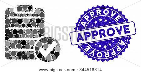 Collage Approve Test Icon And Rubber Stamp Seal With Approve Caption. Mosaic Vector Is Formed With A