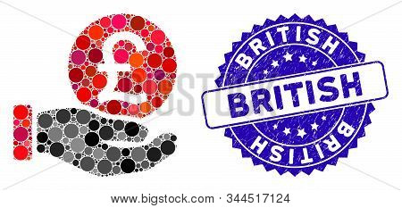 Collage British Pound Coin Payment Icon And Rubber Stamp Seal With British Caption. Mosaic Vector Is