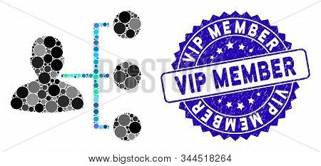 Mosaic Distributor Icon And Distressed Stamp Seal With Vip Member Phrase. Mosaic Vector Is Composed