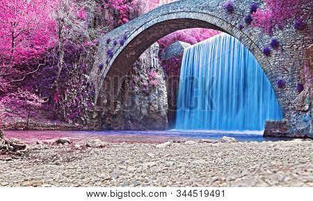 Infrared Landscape Of Waterfall In Trikala Thessaly Greece - Long Exposure Photography