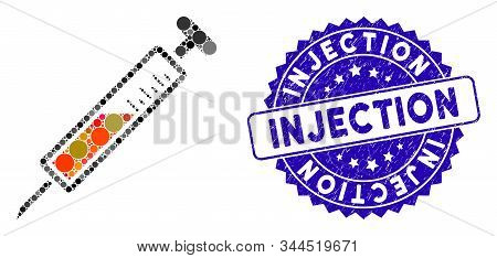 Mosaic Injection Icon And Rubber Stamp Seal With Injection Phrase. Mosaic Vector Is Formed With Inje