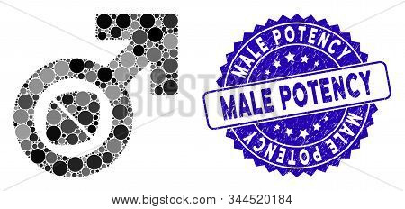 Mosaic Male Potency Tablet Icon And Distressed Stamp Seal With Male Potency Phrase. Mosaic Vector Is