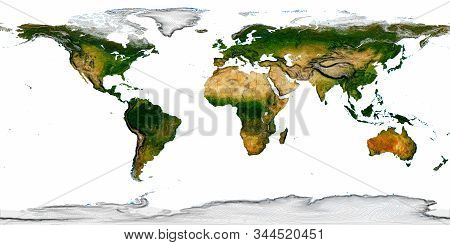 Real Detail World Map Of Continents. Isolated On White Fone. Real Color Of Continents. Scene Reconst