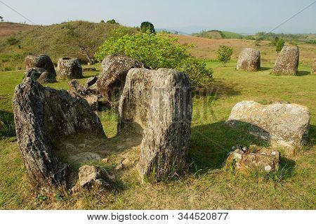 Ancient Stone Jars In A Plain Of Jars (site #1) Near Phonsavan, Xienghouang Province, Laos.