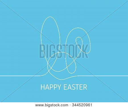 Simple Continuous White Line Drawing Easter Bunny On Blue Background. Minimalist Easter Day Concept