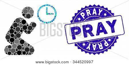Mosaic Pray Time Icon And Rubber Stamp Seal With Pray Text. Mosaic Vector Is Designed With Pray Time