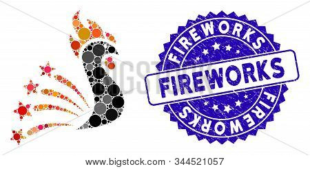 Mosaic Rooster Fireworks Icon And Grunge Stamp Seal With Fireworks Caption. Mosaic Vector Is Compose