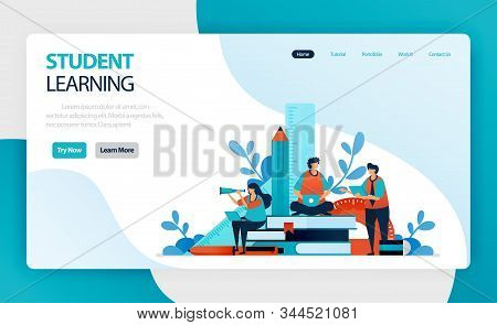 Landing Page For Student Learning And Education. Student Study. Online Mobile Modern Learning. Knowl