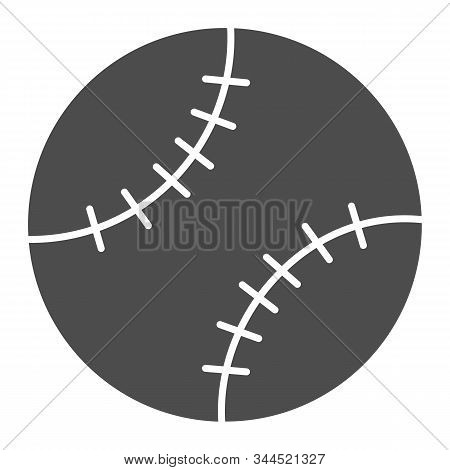 Baseball Ball Solid Icon. Leather Ball Vector Illustration Isolated On White. Sport Inventory Glyph