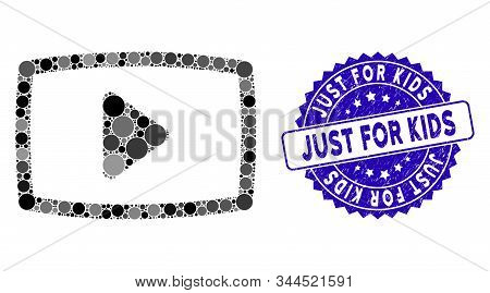 Mosaic Video Screen Icon And Rubber Stamp Seal With Just For Kids Text. Mosaic Vector Is Created Fro