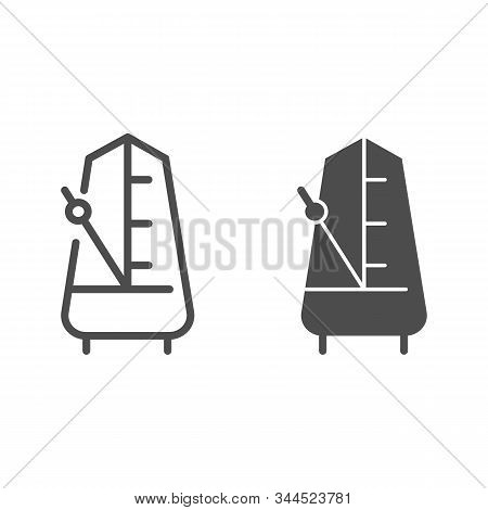 Metronome With Moving Pendulum Line And Glyph Icon. Tempo Vector Illustration Isolated On White. Mus