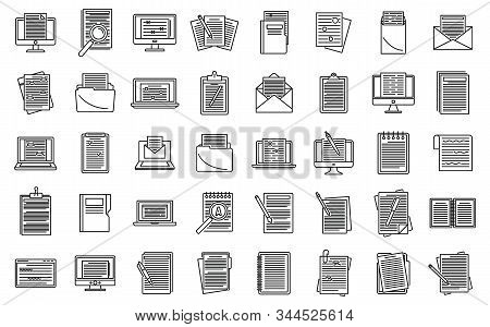 Editor Content Icons Set. Outline Set Of Editor Content Vector Icons For Web Design Isolated On Whit